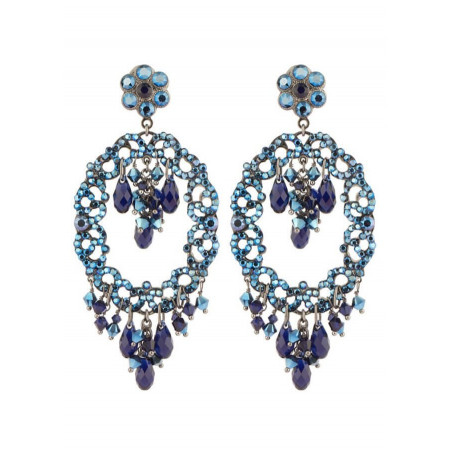 Boucles d'oreilles délicates en métal gun et cristaux | Bleu