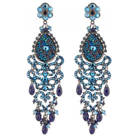 Boucles d'oreilles raffinées en métal gun et cristaux | Bleu