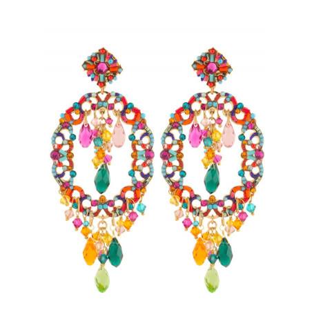 Delicate gold metal crystal earrings   Multicolor