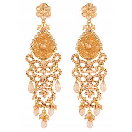 Refined gold metal crystal earrings | Gold