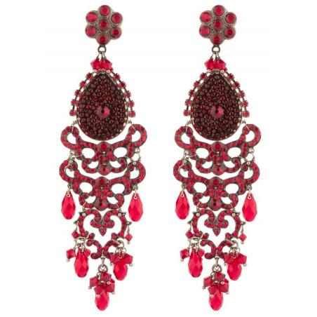 Boucles d'oreilles raffinées en métal gun et cristaux | Rouge