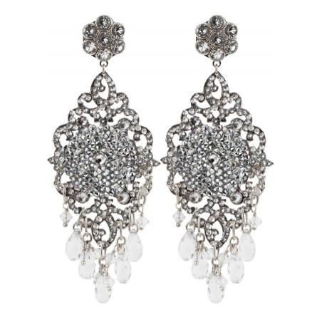 Boucles d'oreilles estivales en métal argenté et cristaux | Argenté