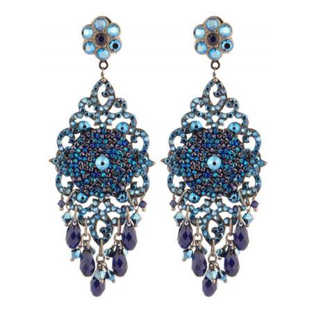 Summery gun metal crystal earrings   Blue