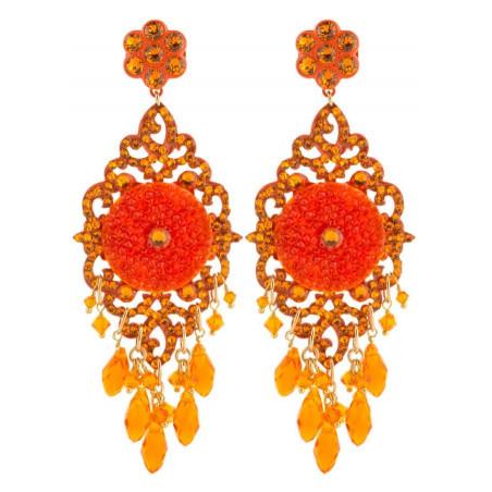 Summery lacquered metal crystal earrings | Orange