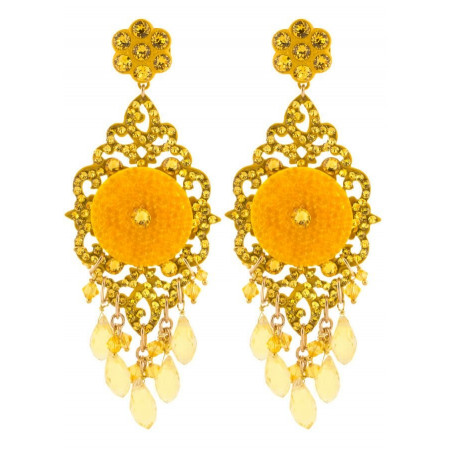 Summery lacquered metal crystal earrings | Yellow