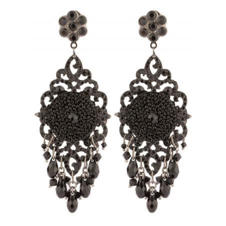 Boucles d'oreilles estivales en métal laqué et cristaux | Noir