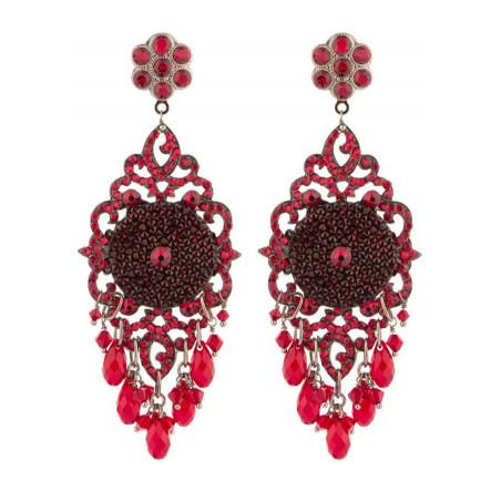 Boucles d'oreilles estivales en métal gun et cristaux | Rouge