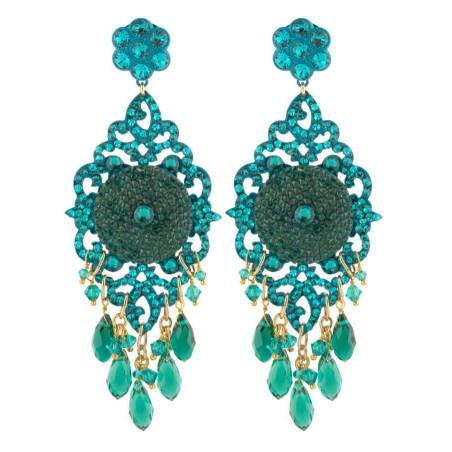 Summery lacquered metal crystal earrings | Zircon