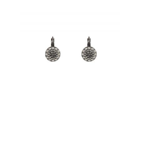 Boucles d'oreilles chic en métal argenté et cristaux | Argenté
