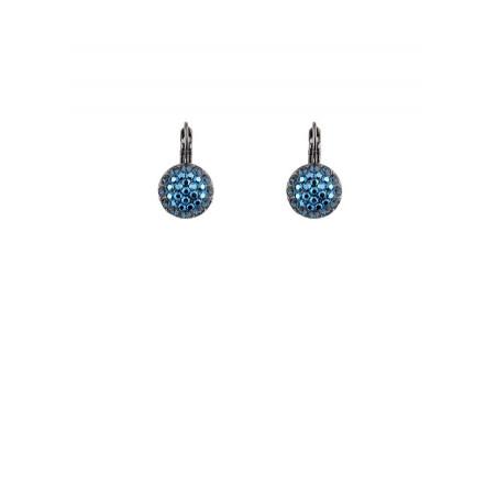 Boucles d'oreilles chic en métal gun et cristaux | Bleu