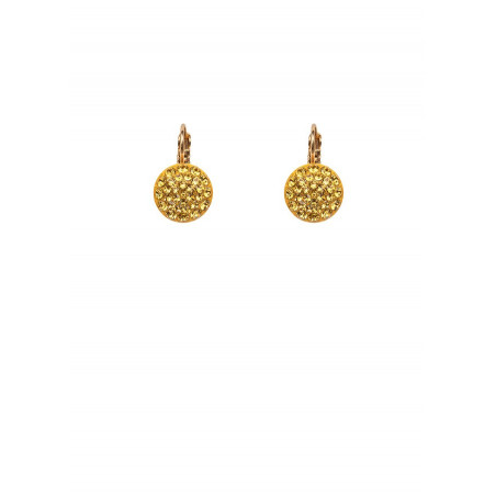 Chic lacquered metal crystal earrings | Yellow