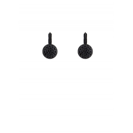Chic lacquered metal crystal earrings | Black