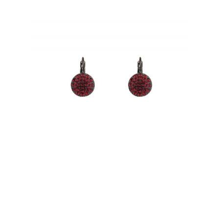 Chic gun metal crystal earrings | Red
