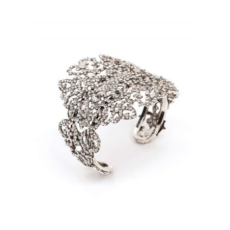 Glamorous silver metal crystal bracelet | Silver