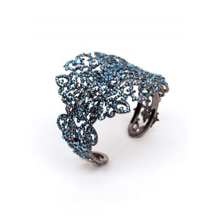 Glamorous gun metal crystal bracelet   Blue