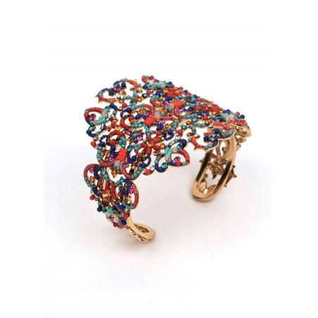 Bracelet jonc glamour en métal doré et cristaux | Multicolore