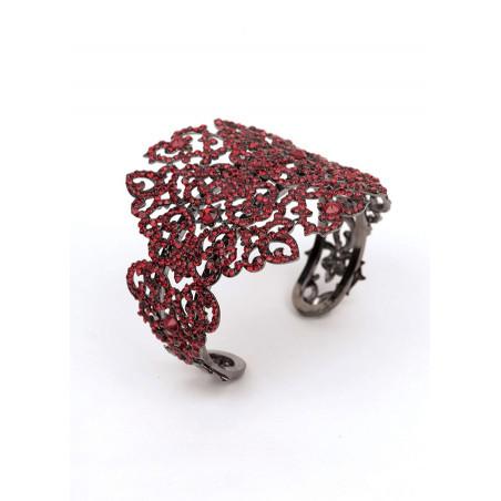 Bracelet jonc glamour en métal gun et cristaux | Rouge