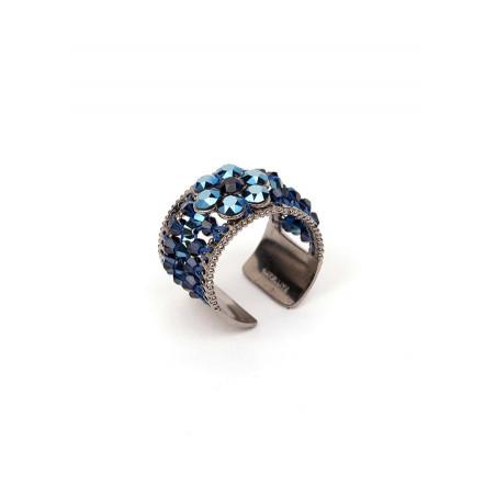 Bague élégante en métal laqué et cristaux | Bleu