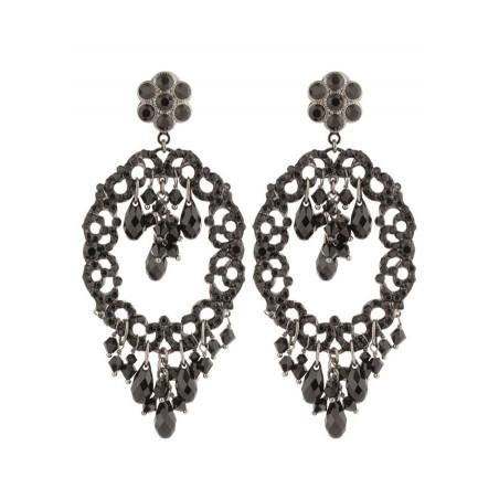 Boucles d'oreilles délicates en métal laqué et cristaux   Noir