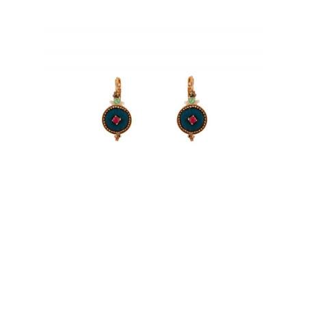 Boucles d'oreilles dormeuses tendance cristaux et velours | Bleu