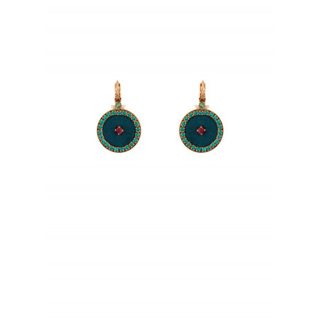 Refined gold metal sleeper earrings with crystals and velvet   Blue
