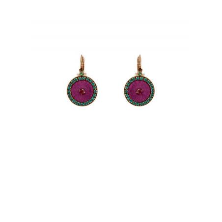 Boucles d'oreilles dormeuses lumineuses cristaux et velours | Rose