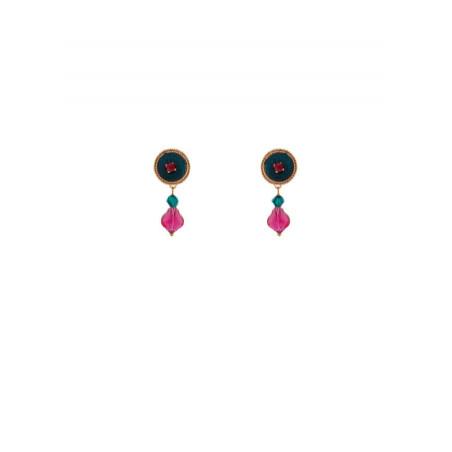 Boucles d'oreilles tendance perles et velours | Bleu