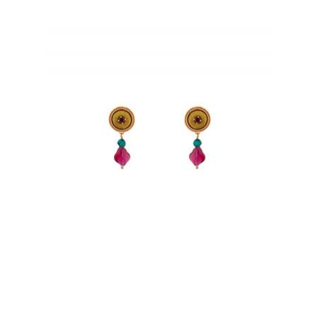 Boucles d'oreilles chic perles et velours | Vert