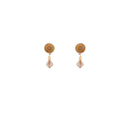 Boucles d'oreilles délicates perles et velours | Doré