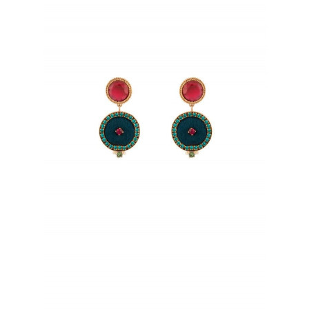 Colourful earrings with crystals and velvet | Blue