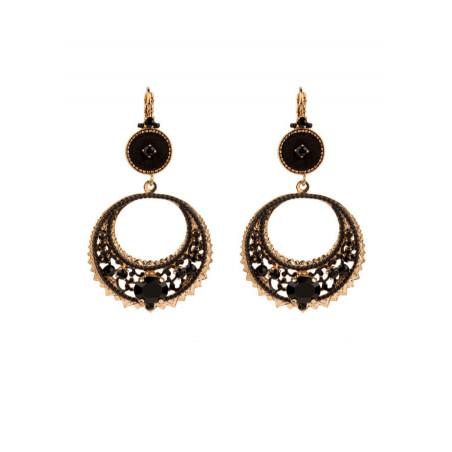 Original sleeper earrings with Japanese beads and velvet   Black