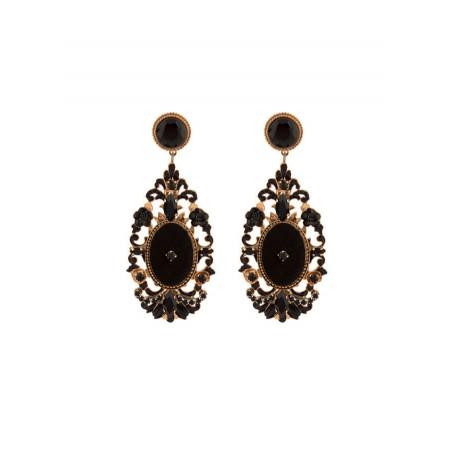 Boucles d'oreilles élégantes perles de verre et velours | Noir