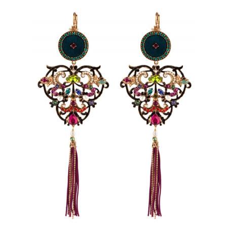 Luxury sleeper earrings in Swarovksi crystals and freshwater pearls   Blue