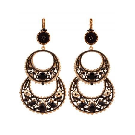 Boucles d'oreilles dormeuses tendance métal doré et velours | Noir