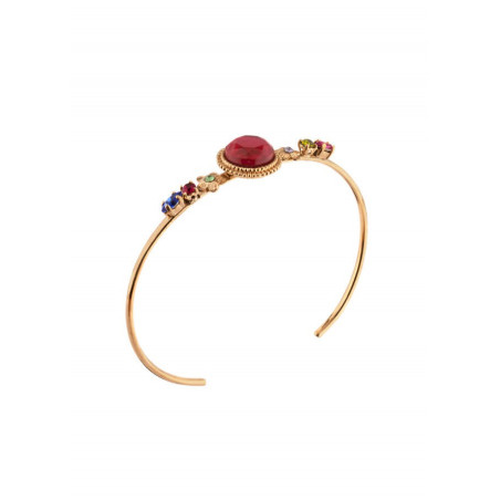 Fashionable bangle with crystals and gold metal   Blue
