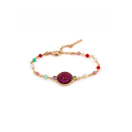 Bracelet luxueux cristaux et velours | Rose