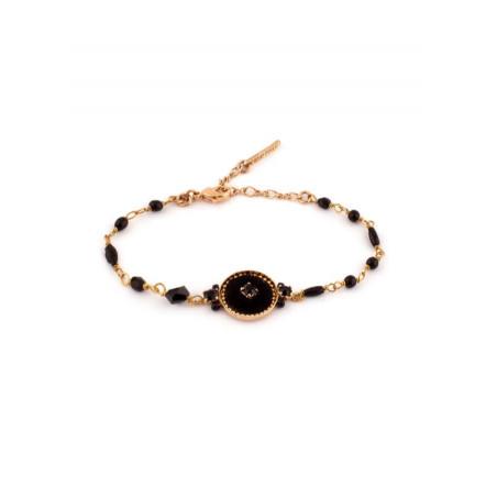 Bracelet élégant perles et velours   Noir