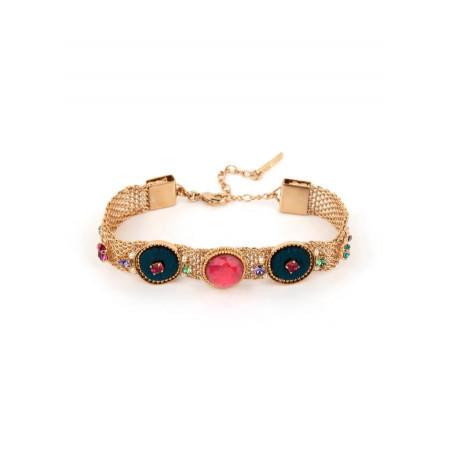 Light bracelet with crystals and velvet | Blue