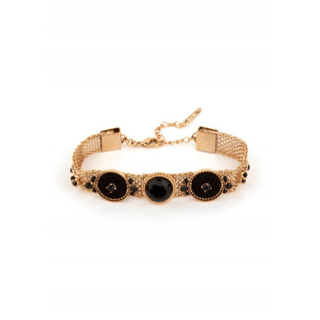 Bracelet chic cristaux et métal doré   Noir