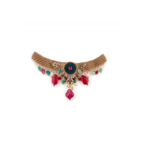 Bracelet luxueux cristaux et velours   Bleu