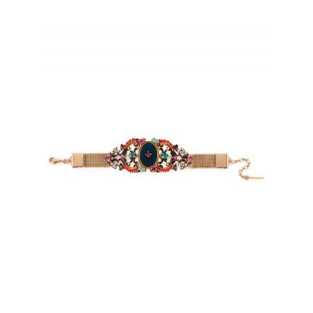 Bracelet mode métal doré et velours | Bleu65880