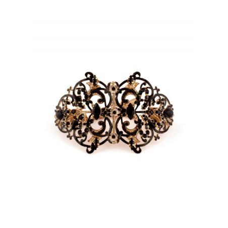 Bracelet lumineux métal doré et perles de verre   Noir