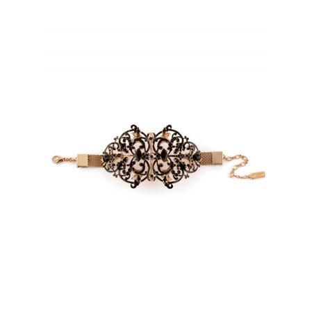Bracelet lumineux métal doré et perles de verre   Noir65892