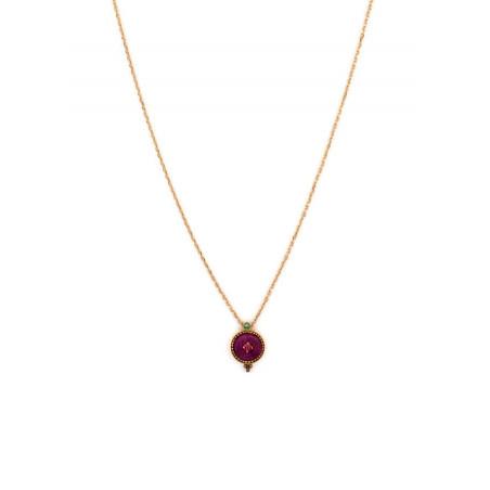 Feminine crystal and velvet necklace | Pink