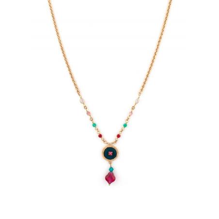 Collier luxueux perles et velours   Bleu
