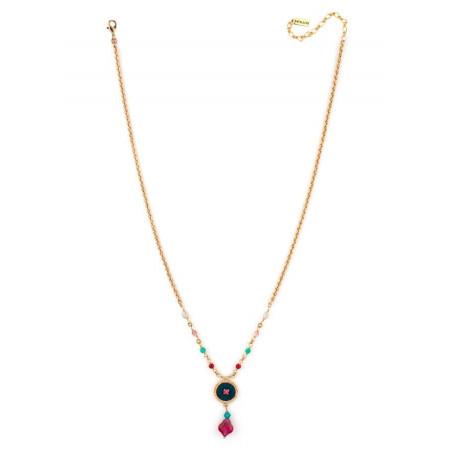 Collier luxueux perles et velours   Bleu65930