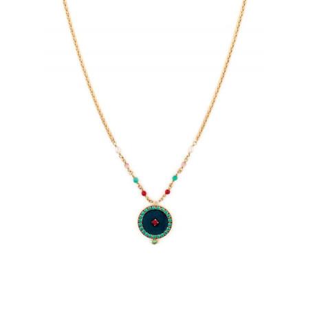 Collier mode cristaux et velours | Bleu