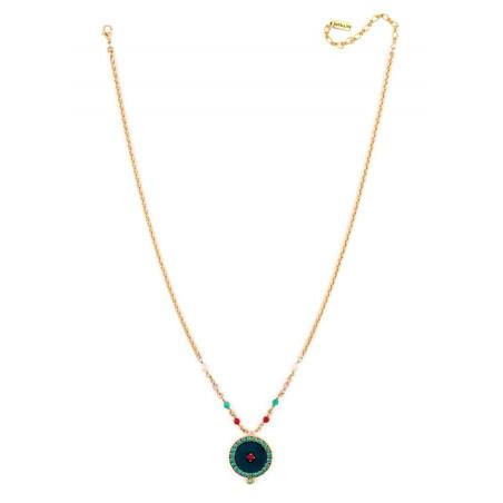 Collier mode cristaux et velours | Bleu65949