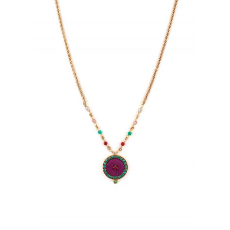 Trendy crystal and velvet necklace | Pink