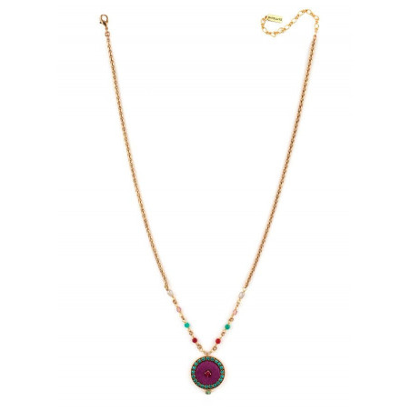 Trendy crystal and velvet necklace | Pink65953
